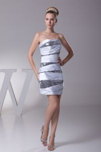 New Style Silver Strapless Side Zipper Dress for Prom with Sequins