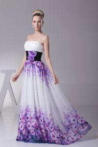 Pretty Floral Print Strapless Prom Gown with Hand Made Flowers