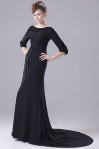Voguish Bateau 3/4-length Sleeves Brush Train Prom Dress in Black