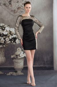 Mini-length Bateau Beaded Prom Attire with Long Sleeves in Fashion