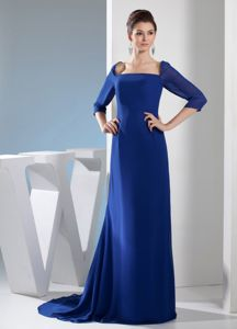 Noble Square Half Sleeves Sweep Train Prom Outfits in Royal Blue