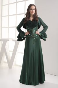 Fashion Dark Green Spaghetti Straps Prom Gown Dress with Beads