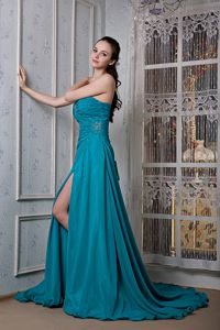 Brush Train Lace-up Beading Senior Prom Dress with Slit on the Side