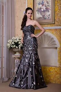 Luxurious Sequined Strapless Brush Train Prom Dress for Slim Girls