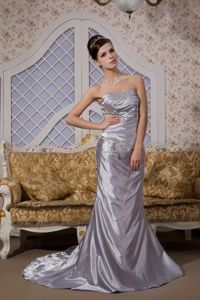 Court Train Grey Strapless Prom Gown Dress with Beads Wholesale