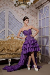 Purple High-low Beaded Prom Outfits with Ruffled Layers Low Price