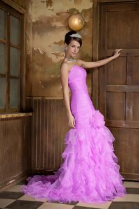 Lavender Sweetheart Ruched Junior Prom Dress with Ruffled Layers