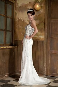 Rhinestone Accent Spaghetti Straps V-neck Prom Dress Brush Train