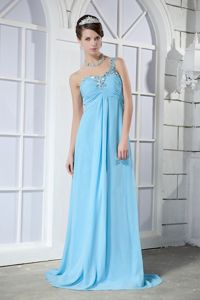 Aqua Blue Brush Train Dress for Prom with Beading in Ballynahinch