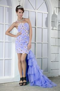 Lilac High-low Ruched Prom Gown Dress with Floral Embellishment