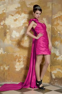 Watteau Train Single Shoulder Fuchsia Prom Attire in Musselburgh