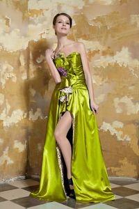 Unique Olive Green High Slit Dress for Prom with Leopard Tillicoultry
