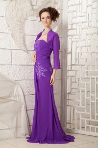 Single Shoulder Purple Prom Outfits with Appliques in Presteigne