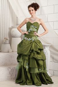 Discount Olive Green Taffeta Appliqued Prom Gown with Pick-ups