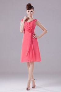 Customize Watermelon Zipper-up Prom Dress with Ruched Bodice