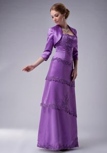 Purple Satin Strapless Dresses for Prom with Appliques and Layers