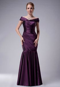 off the Shoulder Purple Mermaid Senior Prom Dresses with Ruche