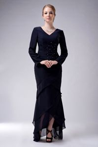 High-low V-neck Beading Chiffon Prom Gown with Long Sleeves Hot