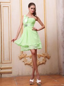 Sweet Yellow Green One Shoulder Prom Dress with Ruche and Bead