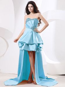 Aqua Blue High-low Strapless Prom Dress for Slim Girls with Beads