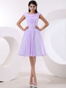 Pretty Lavender Bateau Ruched Chiffon Prom Outfits Melrose Borders