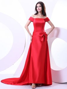 Noble off the Shoulder Satin Red Court Train Prom Gown with Bow
