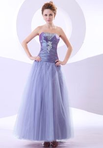 Lilac Column Ankle-length Taffeta and Tulle Gowns for Prom in Flower Mound