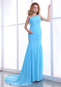 One Shoulder Ruched Sweep Column Prom Gowns in Light Blue in Springfield