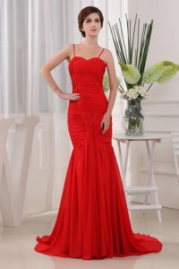 Mermaid Ruched Formal Chiffon Prom Gowns with Spaghetti Straps in Hampton