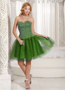 df9384aa38e Olive Green Sleeveless Short Tulle Prom Gowns with Beading in Tuscaloosa