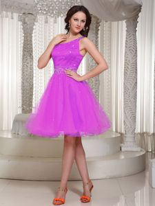 One Shoulder Coral Pink Knee-length Organza Prom Outfits in Tuscaloosa