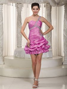 One Shoulder Lace Up Ruffled and Beaded Taffeta Gowns for Prom in Burlington