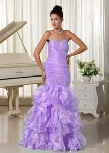 Mermaid Ruched and Beaded Long Organza Formal Evening Prom Dress in Sandy