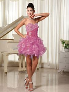 Ruffled Rose Pink Organza Mini-length Prom Attires with Beading in Grand Prairie