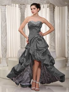 Gray Sweetheart High-low Dresses for Prom with Beading and Ruching