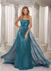 Turquoise Sweetheart Sheath Brush Train Prom Gown Dress with Sequins