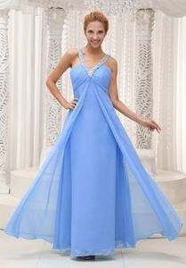 Beaded V-neck Ruched Floor-length Prom Outfits in Aqua Blue in Edgerton