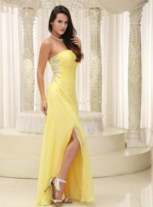 Beaded Light Yellow Strapless Prom Dresses with High Slit in Fennimore
