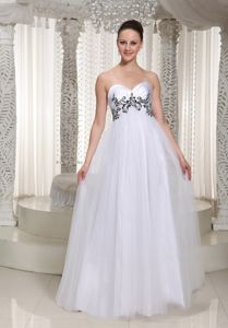 Tulle White Empire Prom Dresses For Formal with Appliques in Cedarburg