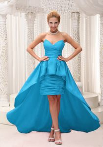 Sweetheart High-low Formal Prom Dresses in Teal with Ruches in Baldwin
