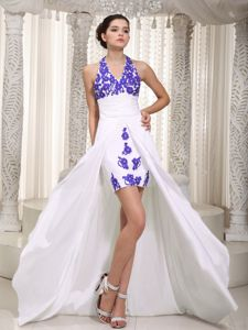 White Halter Top High-low Prom Gown Dress with Appliques in Ashippun