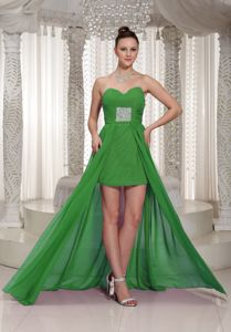 Ruched Sweetheart High-low Green Formal Prom Dresses in Boyceville