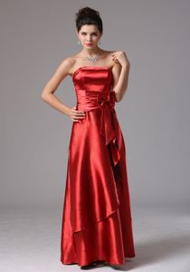 Strapless Column Prom Dress in Wine Red with Bowknot in Brookwood
