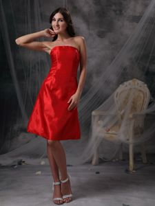 Strapless Knee-length Backless Formal Prom Dress in Wine Red in Arab