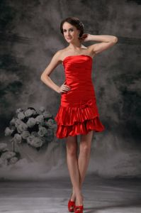 Red Strapless Column Mini-length Prom Attire with Ruches in Camden