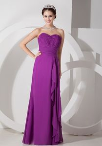 Sweetheart Ruched Floor-length Sheath Purple Prom Attire in Daphne