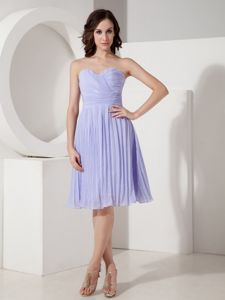 Lilac Pleated Knee-length Empire Prom Gown Dress with Sweetheart