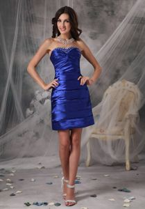 Royal Blue Sweetheart Mini-length Prom Gown with Ruches in Buhl