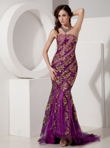 Strapless Purple and Gold Special Fabric Beaded Court Train Dress for Prom