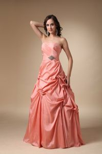 Rust Red Strapless Beaded Full-length Dress for Formal Prom with Pick-ups